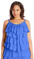 Cole of California Women's Plus-Size Super Solids Tiered Ruffle Tankini