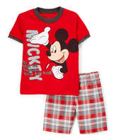 Children's Apparel Network Mickey Mouse Red Crewneck Tee & Plaid Shorts - Infant & Toddler