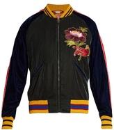 Gucci Flower-embroidered Velvet Bomber Jacket