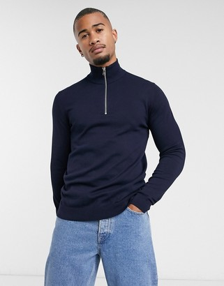 Jack and Jones sweater with quarter zip in navy