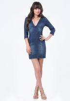 Bebe Denim Fitted Dress