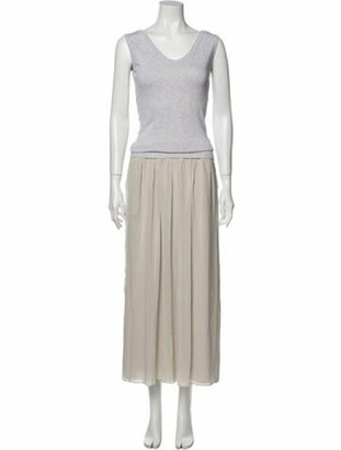 Brunello Cucinelli Scoop Neck Long Dress Grey