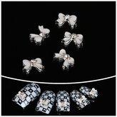 Aftermarket Nail Hall 3D Nail Art Cute Bow with Bling Rhinestones Diy Nail Decoration 10pcs
