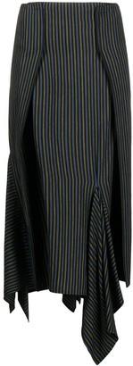 MM6 MAISON MARGIELA Asymmetric Pinstripe Midi Skirt