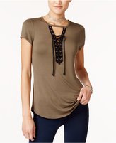 Ultra Flirt Juniors' Cutout Lace-Up Top