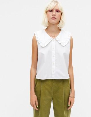 Monki Mona organic cotton poplin collar blouse in white