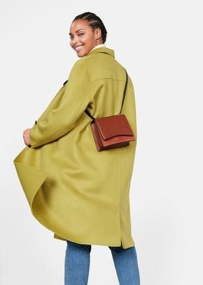 MANGO Violeta BY Leather flap bag tobacco brown - One size - Plus sizes