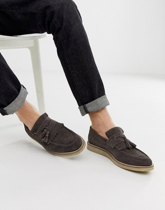 Asos DESIGN loafers in gray suede with faux crepe sole
