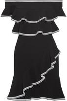 Rebecca Vallance Courtside Off-the-shoulder Ruffled Stretch-cloqué Mini Dress - Black