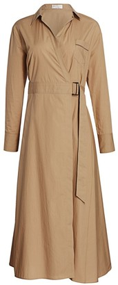 Brunello Cucinelli Poplin Belted Midi Shirtdress