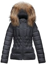 Moncler Adanna Diamond-Quilted Puffer Coat, Navy, Size 8-14