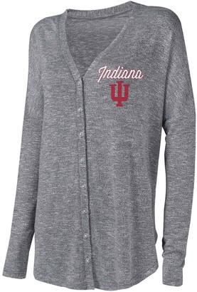 Unbranded Women's Concepts Sport Gray Indiana Hoosiers Knit Button-Up Sweater