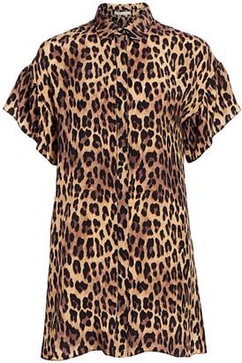 Alice + Olivia Jude Leopard Print Ruffle Sleeve Shirtdress