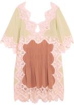 Chloé Macramé Lace-trimmed Silk Crepe De Chine Mini Dress - Antique rose
