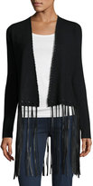 Neiman Marcus Long-Sleeve Cardigan with Faux-Leather Fringe Trim, Black