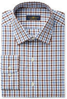 Club Room Estate Men's Classic-Fit Wrinkle-Resistant Chestnut Faded Gingham Dress Shirt, Only at Macy's