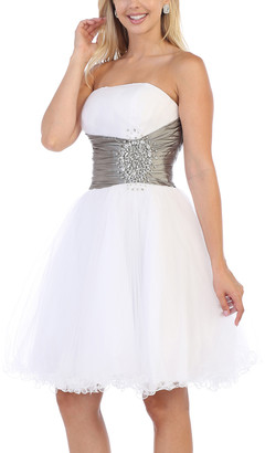 MayQueen Women's Special Occasion Dresses White/Silver - White & Silver Beaded-Accent Fit & Flare Dress - Women