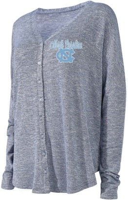 Women's Concepts Sport Heathered Navy North Carolina Tar Heels Tri-Blend Knit Button-Up Sweater