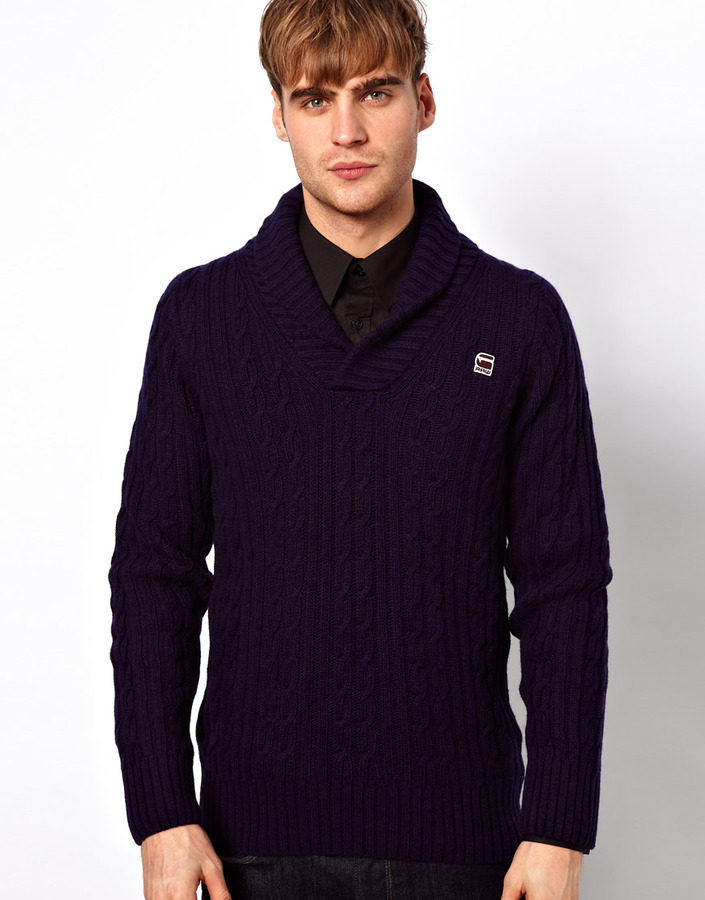 G Star Sweater New Borre Shawl Collar Cable