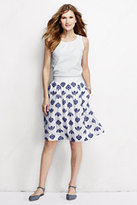 Lands' End Women's Petite Embroidered A-line Skirt-White