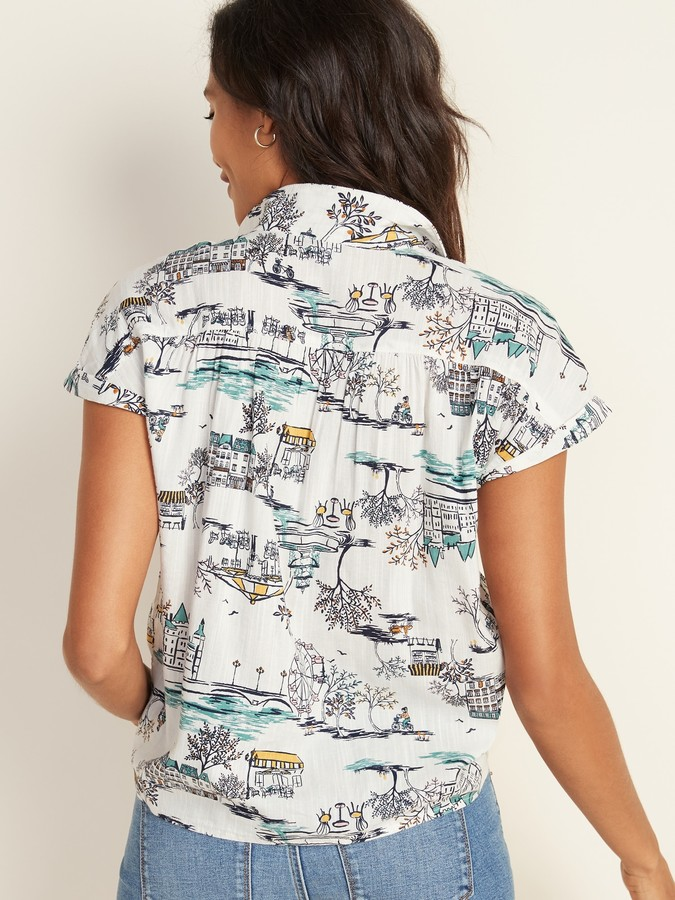 Thumbnail for your product : Old Navy Printed Tie-Hem Resort Shirt for Women