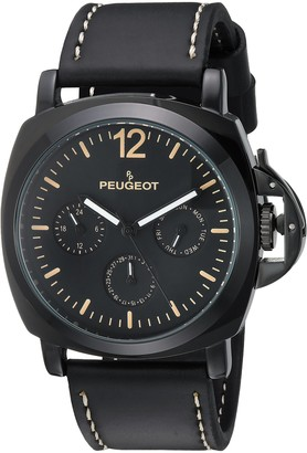 Peugeot Men's All Black Multi-Function Analog-Quartz Sport Watch with Leather Calfskin Strap 25 (Model: 2056BK)