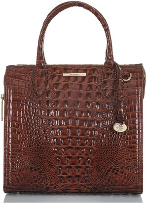 Brahmin Caroline Croc Embossed Leather Satchel