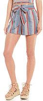 C & V Chelsea & Violet Belted Striped Shorts