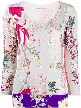 Etro Floral Print Round Neck Jumper