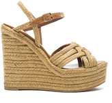 Saint Laurent Braided Leather Platform Espadrilles