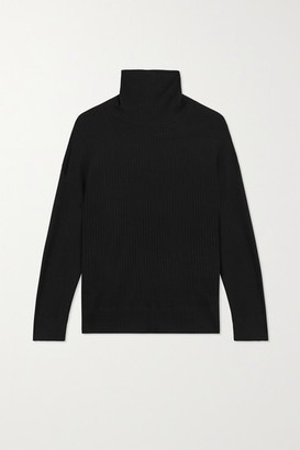 Leset Alison Oversized Ribbed Stretch-knit Turtleneck Sweater - Black