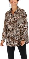 Yokodea Women's Button Down Shirts Khaki - Khaki Leopard Front-Pocket Button-Up Tunic - Women