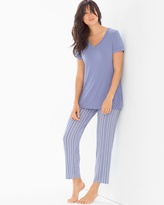 Soma Intimates Ankle Pants Pajama Set Finespun Stripe Blue Chill