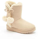Beige Pom Pom-Accent Emerson Boot