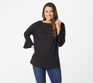 Belle By Kim Gravel TripleLuxe Knit Ruffle Sleeve Top