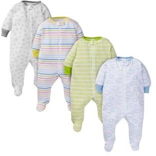Onesies Brand Baby Boy or Girl Gender Neutral Pajamas Zip Front Sleep 'N Play Sleepers, 4-Pack
