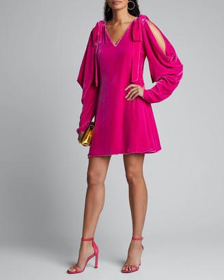 Les Rêveries Cold-Shoulder Velvet Mini Dress w/ Bows