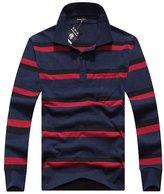 Sansi Men's Casual Polo Shirt Fashion Striped Long-sleeved T-shirt