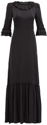 The Vampire's Wife The Gloria Hammered Silk-blend Satin Maxi Dress - Black