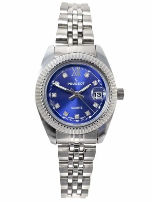 Peugeot Women's Fluted Bezel Status Luxury Steel Bracelet Watch with Date Window