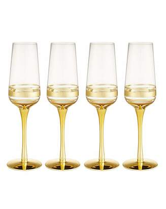 Marisota Gold Double Band Champagne Flutes Set 4