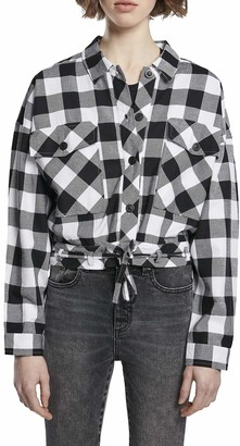 Urban Classics Women's Ladies Short Oversized Check Shirt