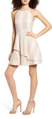 Speechless Pastel Stripe Halter Neck Cotton Blend Minidress