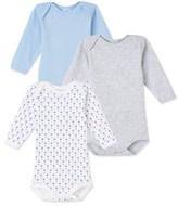 Petit Bateau Pack of 3 baby boy long-sleeved bodysuits