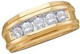 DazzlingRock Collection 1.00 Carat (ctw) 14K Yellow Gold Round Cut White Diamond Mens Fashion Ring Wedding Band 1 CT