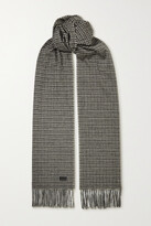 Thumbnail for your product : Saint Laurent Fringed Houndstooth Cashmere And Wool-blend Scarf - Gray