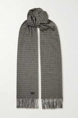 Saint Laurent Fringed Houndstooth Cashmere And Wool-blend Scarf - Gray