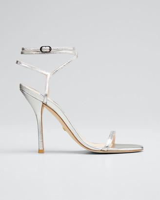 Stuart Weitzman Merinda Metallic Leather Ankle-Wrap Sandals