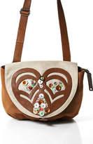 Oilily Brown Leather Sequin Detail Buckle Closure 6 Pocket Messenger Handbag