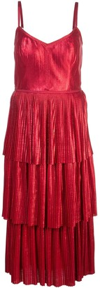 Marchesa Pleated Midi Dress